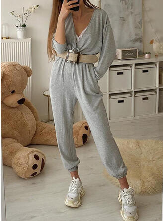 Solid V-Neck Long Sleeves Casual Jumpsuit