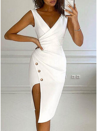 Solid Sleeveless Bodycon Asymmetrical Elegant Dresses