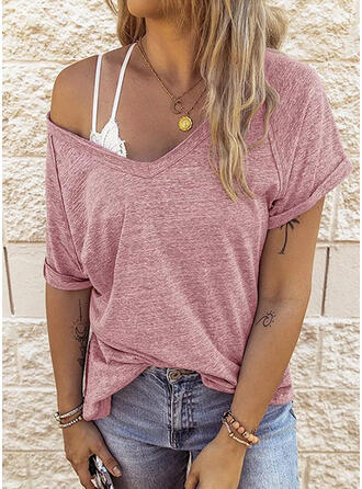 Solid V-Neck Short Sleeves T-shirts