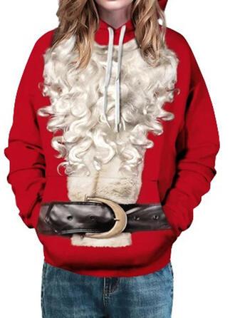 Damskie Mieszanki bawełny Wydrukować Świąteczna bluza