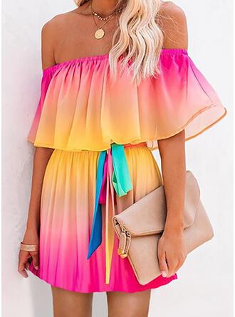 Tie Dye Krótkie rękawy W kształcie litery A Nad kolana Casual/Wakacyjna Sukienki