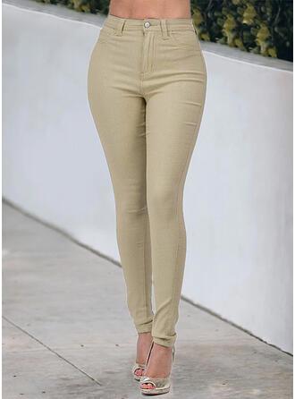 Jednolity Bawełna Długo Nieformalny Duży rozmiar Pocket Przycisk Dżinsy