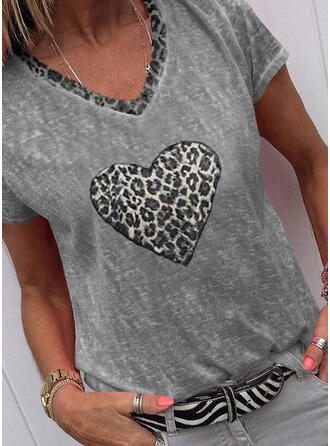 Leopard Heart V-Neck Short Sleeves T-shirts