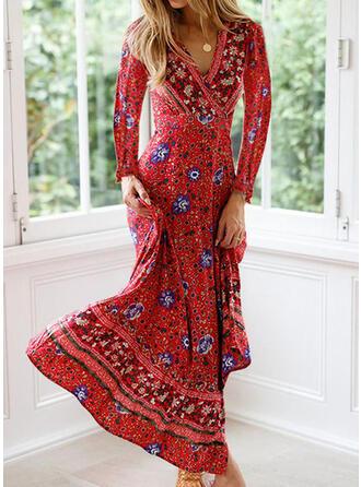 Nadrukowana/Kwiatowy Długie rękawy W kształcie litery A Łyżwiaż Casual Maxi Sukienki
