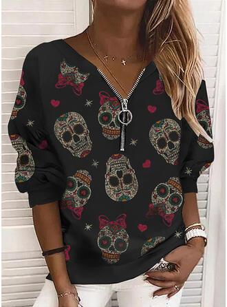 Halloween Nadruk Serce Skull Head Dekolt w kształcie litery V Długie rękawy Bluza