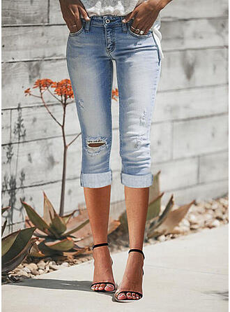 Jednolity Dżinsowa Capris Nieformalny Duży rozmiar Pocket Ripped Spodnie Dżinsy