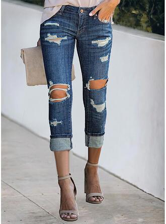 Jednolity Dżinsowa Przycięte Duży rozmiar Biuro / Biznes Pocket hollow Out Ripped Spodnie Dżinsy