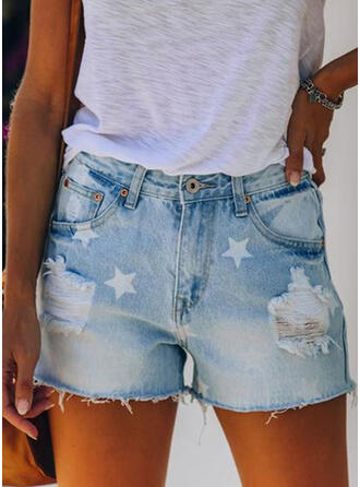 Print Ripped Sexy Vintage Shorts Denim & Jeans
