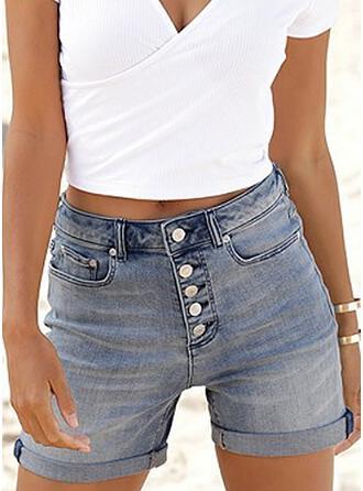 Jednolity Dżinsowa Nad kolanem Nieformalny Zabytkowe Duży rozmiar Pocket Przycisk Spodnie Szorty Dżinsy