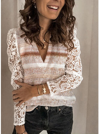 Striped Lace V-Neck Puff Sleeves Long Sleeves Casual Blouses