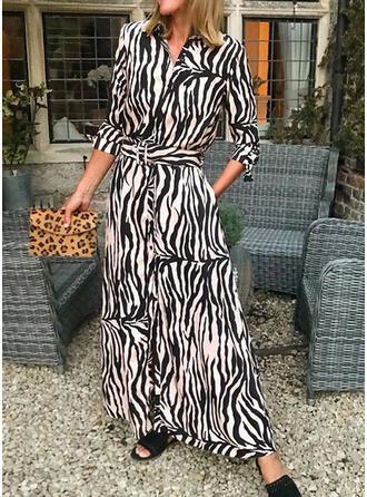 Nadrukowana Długie rękawy W kształcie litery A Koszula/Łyżwiaż Casual Maxi Sukienki