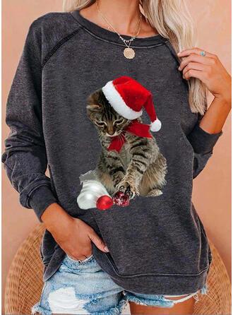 Zwierze Okrągły Dekolt Długie rękawy Świąteczna bluza
