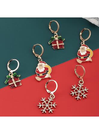 Świecący Boże Narodzenie Christmas Santa Stop Z Cyrkonie Kolczyki 6 szt