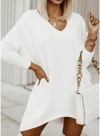 Jednolity Dekolt w kształcie litery V Nieformalny Sukienka sweterkowa