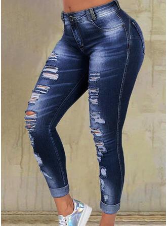 Jednolity Dżinsowa Długo Nieformalny Duży rozmiar Pocket Ripped Spodnie Dżinsy