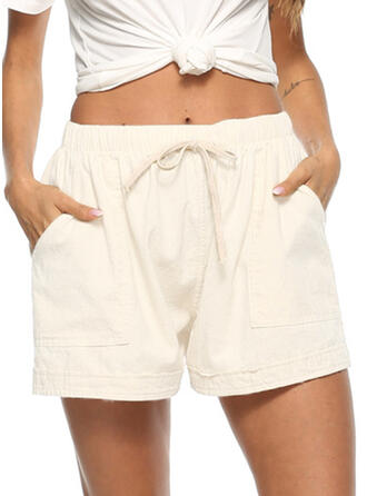 Pockets Shirred Plus Size Above Knee Casual Sporty Shorts