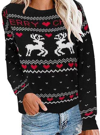 Women's Polyester Animal Print Ugly Christmas Sweater