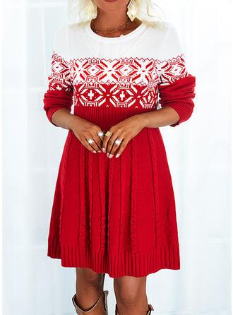 Boże Narodzenie Nadruk Blok Koloru Okrągły dekolt Sukienka sweterkowa
