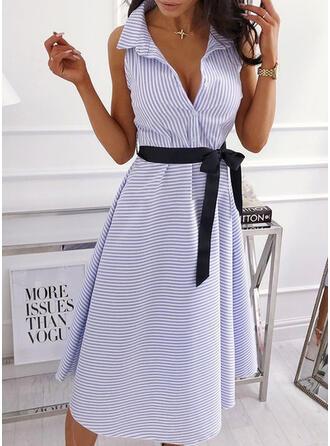W paski Bez rękawów W kształcie litery A Casual/Elegancki Midi Sukienki