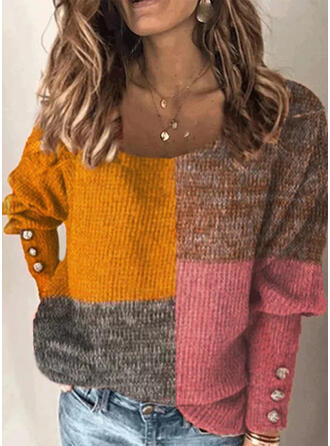 Blok Kolorów Okrągły dekolt Casual Swetry