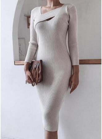 Jednolita Długie rękawy Bodycon Ołówkowa Elegancki Midi Sukienki