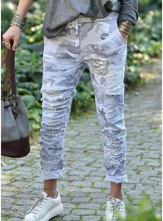 Nadruk Kamuflaż cekiny Długo Nieformalny Duży rozmiar Pocket drawstring Spodnie