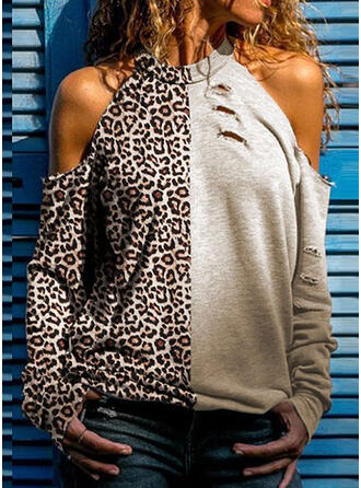 Leopard Cold Shoulder Long Sleeves Casual Knit Blouses
