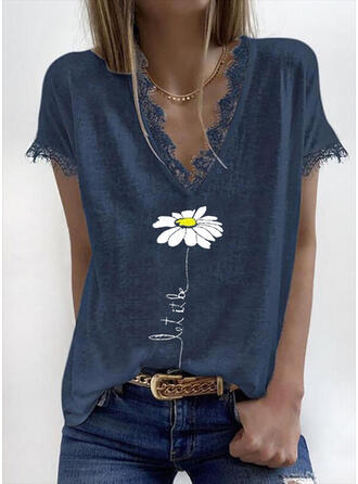 Print Floral Lace Figure V-Neck Short Sleeves Casual Blouses
