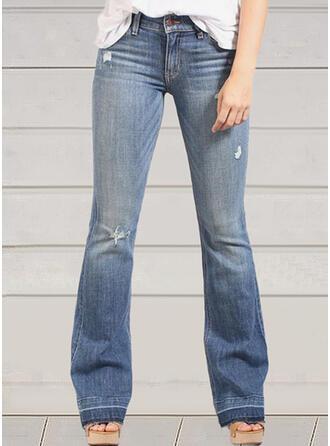 Jednolity Dżinsowa Długo Nieformalny Zabytkowe Duży rozmiar Pocket Ripped Dżinsy