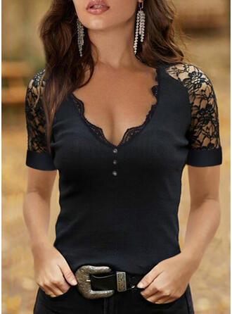 Solid Lace V-Neck Short Sleeves Button Up Elegant Blouses