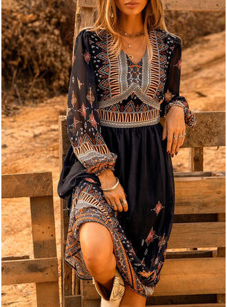 Print Long Sleeves Shift Tunic Casual/Boho Midi Dresses