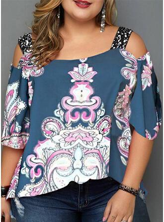Print Floral Sequins Cold Shoulder 3/4 Sleeves Casual Plus Size Blouses