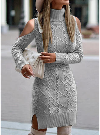 Jednolity Prążkowana dzianina Golf Casual Sukienka sweterkowa