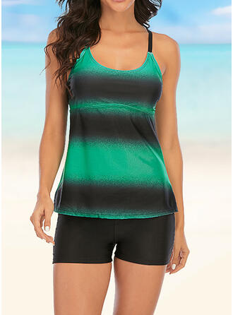 Stripe Print Strap Beautiful Attractive Eye-catching Tankinis Swimsuits
