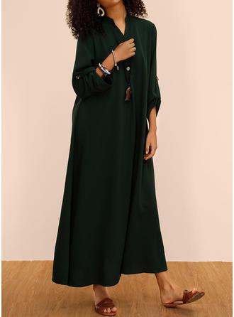 Jednolita Długie rękawy Koktajlowa Casual Maxi Sukienki