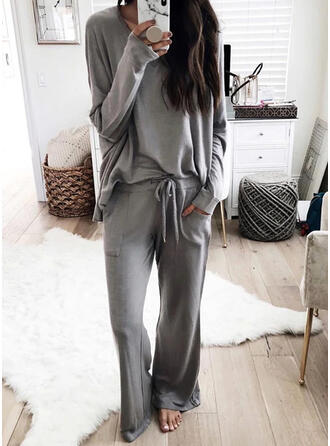 Solid Pockets Plus Size Drawstring Casual Sporty Stretchy Suits