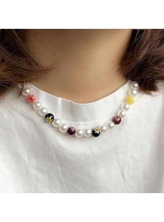 Vintage Boho Geometric Luxurious Adjustable Alloy Imitation Pearls Glass Beads Women's Ladies' Necklaces Choker Necklace