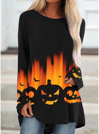 Halloween Nadruk Zwierzę Okrągły dekolt Długie rękawy Bez Rękawów Bluza