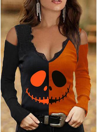 Halloween Blok Koloru Nadruk Koronka Zimne ramię Długie rękawy T-shirty