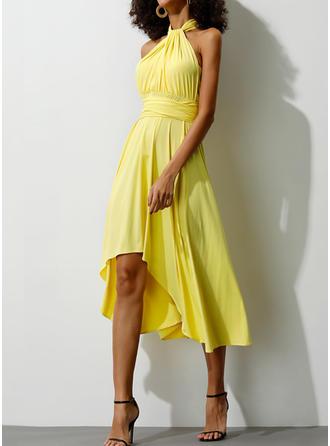 Jednolita Krótkie rękawy W kształcie litery A Asymetryczna Casual/Przyjęcie Sukienki