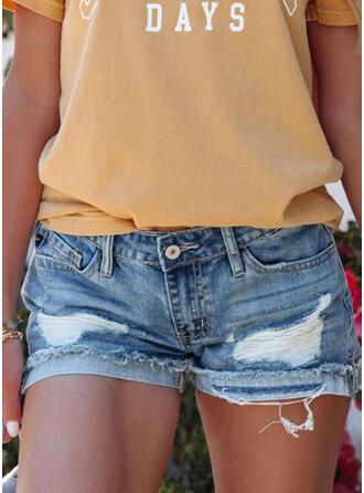 Jednolity Dżinsowa Nad kolanem Nieformalny Duży rozmiar Pocket Ripped Przycisk Spodnie Szorty Dżinsy