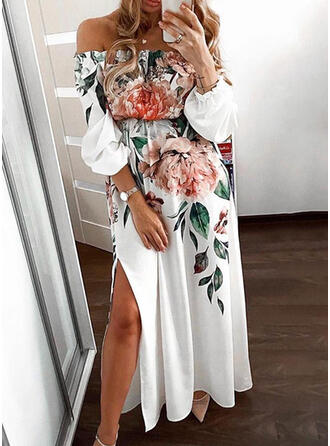 Nadrukowana/Kwiatowy Rękawy 3/4 W kształcie litery A Casual/Elegancki Maxi Sukienki
