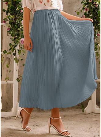Chiffon Plain Maxi A-Line Skirts