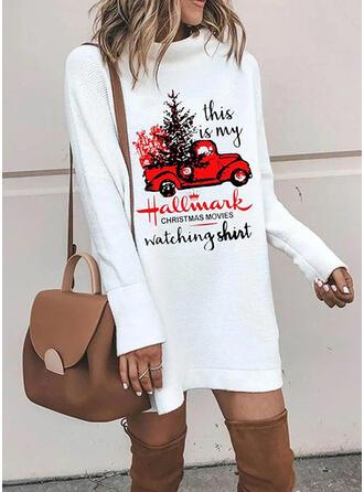 Nadrukowana Długie rękawy Koktajlowa Nad kolana Boże Narodzenie/Casual Bluza Sukienki