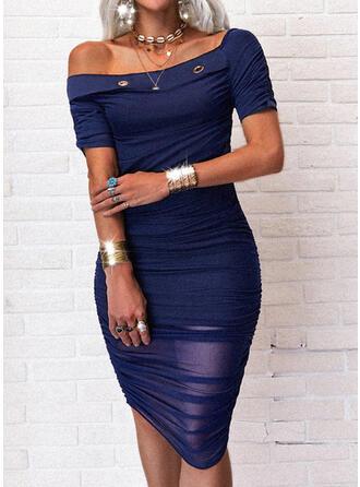 Jednolita Krótkie rękawy Bodycon Długośc do kolan Casual Ołówkowa Sukienki