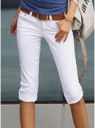 Jednolity Capris Elegancki shirred Spodnie