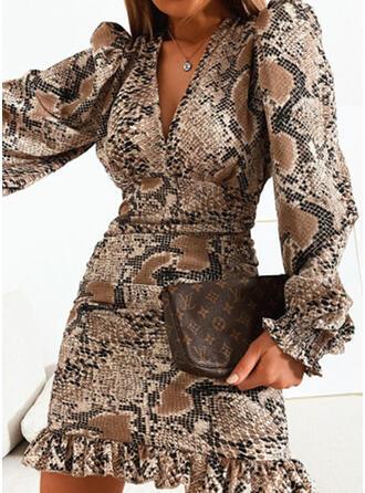 Print Long Sleeves/Puff Sleeves Sheath Above Knee Elegant Dresses
