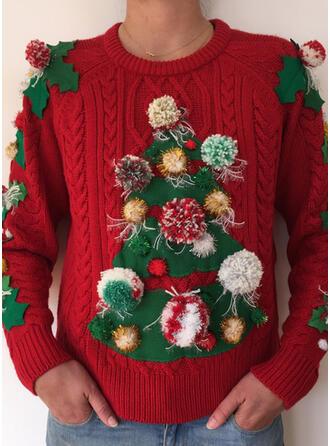 Damskie Kabel Dzianina Brzydki świąteczny sweter