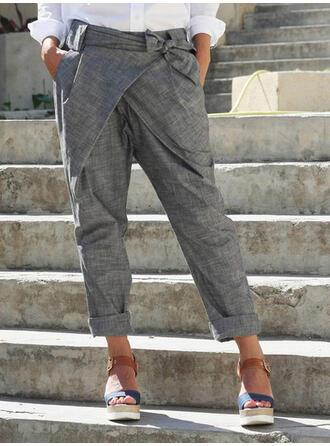 Koronka Kieszenie Marszczona Duży rozmiar midi Nieformalny Jednolity Spodnie