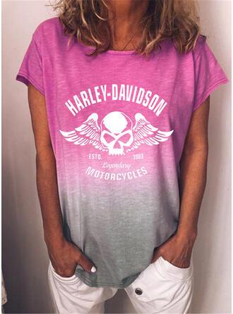 Figura Gradient Nadruk Okrągły dekolt Krótkie rękawy T-shirty